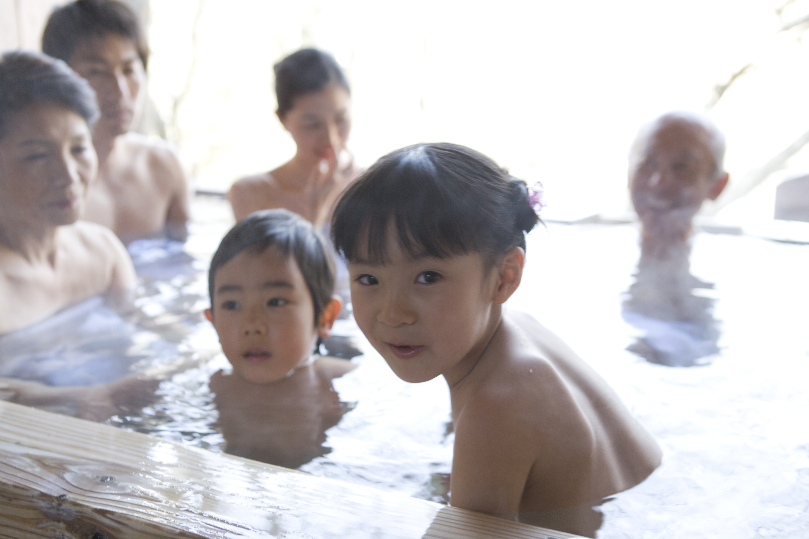 Three Generation Family In Hot Spring