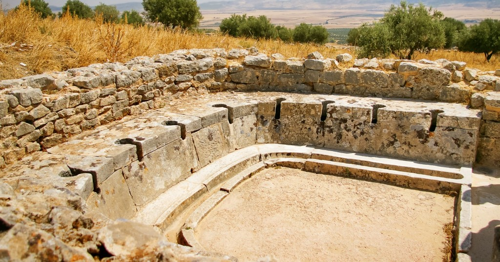 Ancient public toilet. Dougga, Roman Ruins. Unesco World Heritage Site in Tunisia.