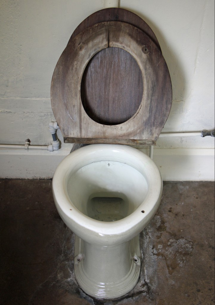 Antique toilet with wooden seat